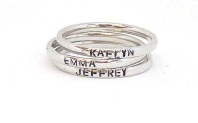 NEW Stainless steel hand stamped Jeffrey ring size 8