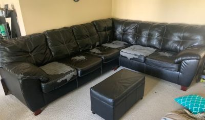 Fake leather sectional