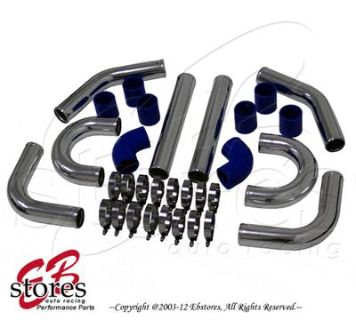 "Sell Blue Silicone 2.5"" Intercooler Piping Kit + Silver U Pipe T-Bolt T-Clamps Hoses motorcycle in Walnut, California, US, for US $83.95"