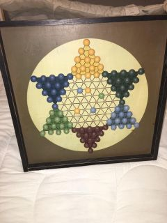 Chinese checkers with removable pieces wall hanging