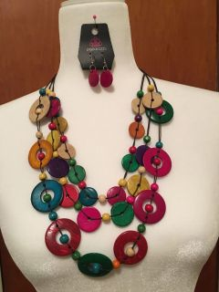 Beautiful multicolored necklace with earrings