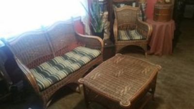 Vintage Tri-Color Bamboo & Rattan Furniture Set