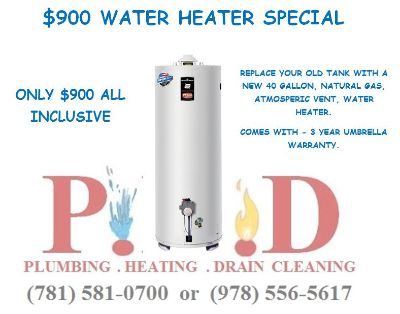 Water Heater $900 Installed (40 gallon gas chimney vented)