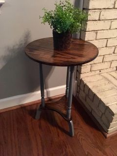 Newly refinished round side table/plant stand