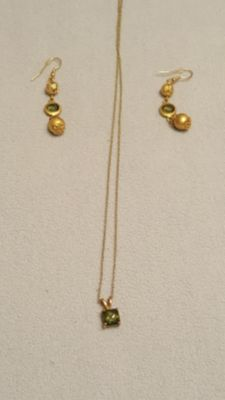 Forest Green & Gold Necklace and Earring Set