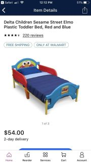 Elmo toddler bed and mattress