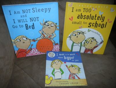 3 Charlie & Lola Book Lot Lauren Child Books School / Go to Bed / Bigger Than You