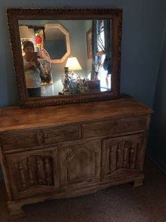 Hutch and mirror 16 inches deep 47 long 27 tall
