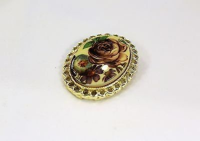 collectible gold tone flower floral brooch hat lapel scarf pin filigree trim