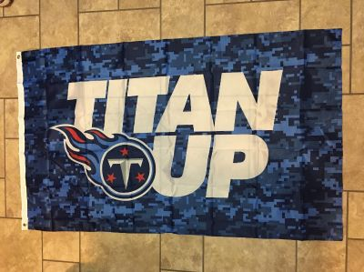 """HUGE FLAG/BANNER. 61"""" WIDE - 36"""" TALL. HAS GROMMETS ON ONE SIDE """"TITAN UP"""" New"""