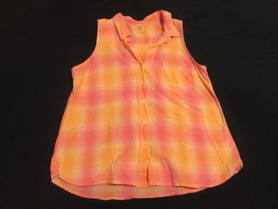 Faded Glory Button Up Blouse. Size Large (12-14). 100% Cotton. EUC