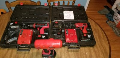 Snap-on 18v impacts, drill, batterys, and chargers,