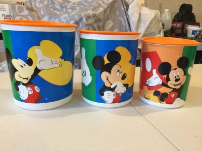 Tupperware set of 3 Mickey Mouse canisters
