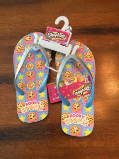 Brand new with tags shopkins flip flops. Girls 11-12