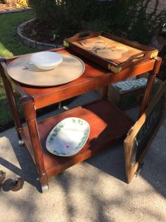 Rolling wood cart...swap only...no holds..cart only