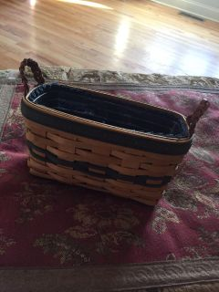 1997 longaberger collectors edition napkin basket w/ protector and liner (color on basket is a little faded)