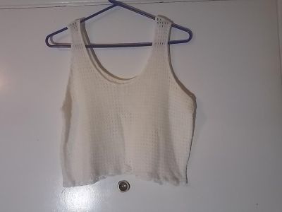 White/Off White Soft Stretchy Crochet Knit Crop Top Size XL