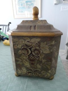 X-LARGE CONTAINER WITH GREENISH BROWN TINT AND ANTIQUE BRONZE TRIM