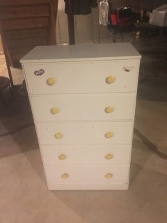 Vintage White 5-Drawer Dresser