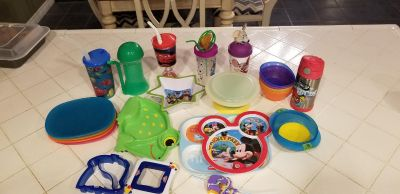 Small kid plates, cups, and bowls