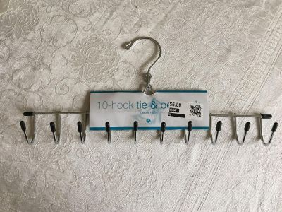 Hook for ties, belts, scarves. Holds 10. NEW