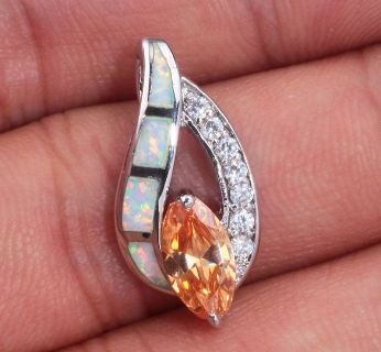 New - Morganite, White Fire Opal and White Zircon Pendant (Includes a chain)