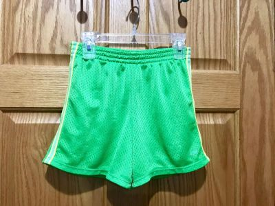 Champion Lime Green Shorts with Yellow/Green side Stripe, Size 7/8