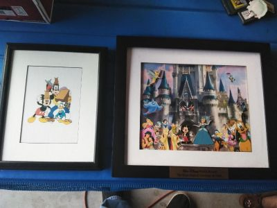Walt Disney lonesome ghost lithograph and large castle Disney pin frame