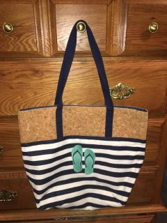Thirty-One Navy and White Stripe with Flip flops Tote