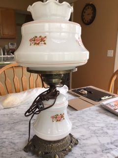 Vintage Antique Milk Glass Floral Globes Hurricane Lamp