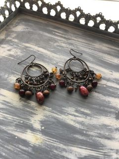 Brown gold and red earrings. Euc