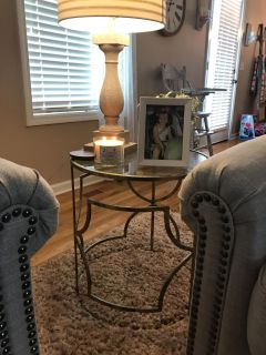 Set of 2 gold/glass side tables