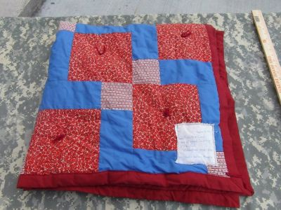 hand made red blue pattern quilt many hands quilting ministry 47in x 47in 31841