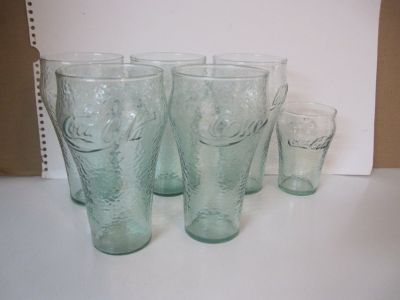 Coca Cola Glasses - Some Green, Some Clear