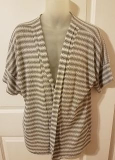 Women's 1X Gray and White Striped Short Sleeve Cardigan