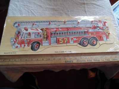 wooden puzzle fire truck