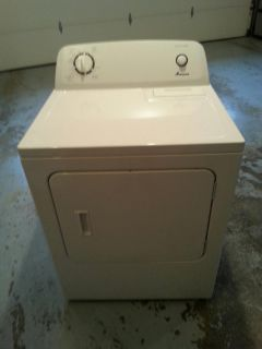 Amana electric dryer, white.