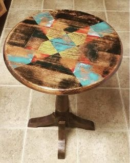 Quilt block top accent table