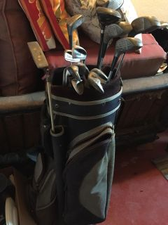 Golf bag and men s shoes