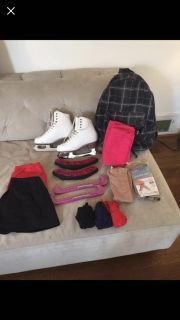 Ice skates (5.5) with skirts/gloves/tights & skate accessories