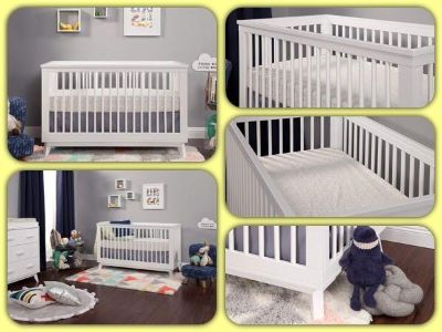 Babyletto Scoot 3-in-1 Convertible Crib w Toddler Bed Conversion Kit, White - Retail $376, New In Box
