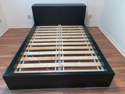 Ikea double bed + Headboard with storage