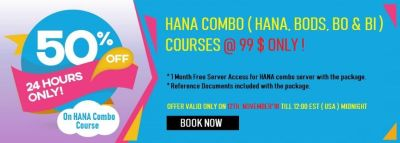 Few Hours Left :  HANA, BODS, BO & BI COMBO COURSE @ 99 $ Only !