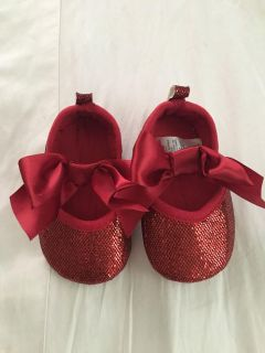 Cat and jack red ribbon shoes