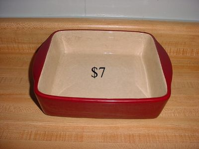 Home & Garden Party Stoneware Collection Burgundy 8 Square Baker With Built-In Handles For Easy Lifting. Great For Baking Deep Dish...