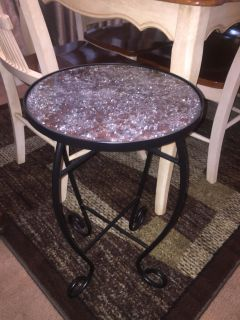 Crackle glass plant stand (brown & clear glass top)
