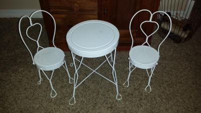 American Girl doll size white metal ice cream bistro table and 2 chairs
