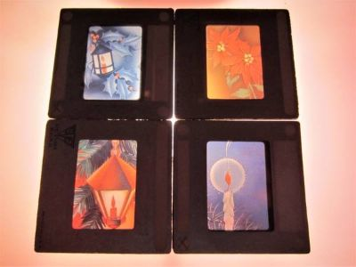 4 Retro 1950S Christmas Graphics Glass Slides - 35mm Holiday Decor Art