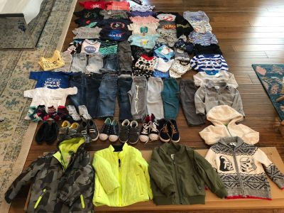 Entire boys 3T wardrobe. Toddler boy s clothes, toddler 9 and 10 shoes, 3T boys swim, jacket, jeans