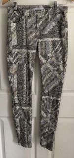 7 FOR ALL MANKIND Women s Geometric Print Beige/Gray/Brown Skinny Pants Size 26
